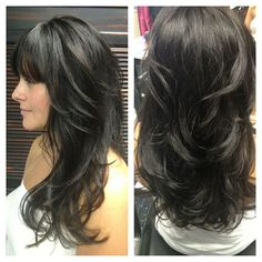 long hair with lots of layers and side bangs - Google Search