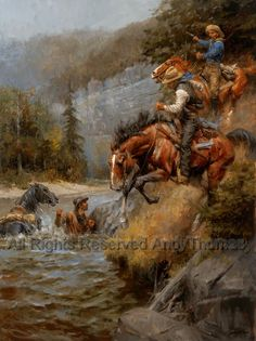The Hunted Cowboy - Western art by Andy Thomas Cowboy Horse, Cowboy Art, Cowboy Western, Westerns, West Art, Le Far West, Equine Art, Mountain Man, Horse Art