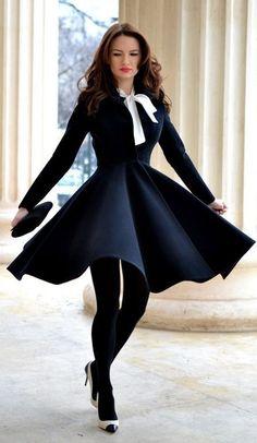 Navy Blue twirl coat #navy