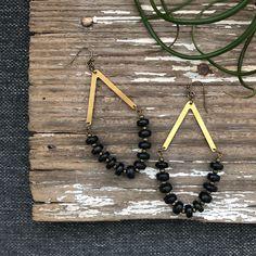 """Black Wood + Faceted Brass Beads + Brass Arrow    3.5"""""""
