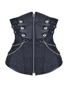 Burvogue Women's Retro Steampunk Steel Boned Corset (Small, Black)