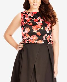 c3a32a1ff5b City Chic Plus Size Floral-Print Crop Top Crop Tops Online
