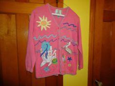 Quacker Factory Cotton Blend Ladies L/S Sweater. Summer Beach Motif. Medium #QuackerFactory #Cardigan