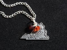Virginia Tech Hokies Sterling Silver Map Charm Pendant. $25.00, via Etsy.