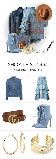 """""""Boho Chic Style Notes"""" by debschlier ❤ liked on Polyvore featuring Alexander McQueen, Jonathan Simkhai, Gucci, Blue Nile and Belk Silverworks"""