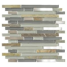 Jeffrey Court St. Cloud Pencil 11-3/4 in. x 11-3/4 in. x 6 mm Glass/Quartz/Metal Mosaic Wall Tile-99474 - The Home Depot