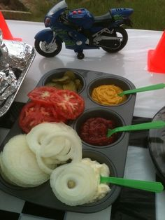 how to serve condiments at a bar-be-que and cut back on the dirty dishes... neat idea!