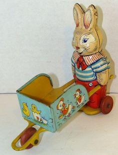 Vintage 1950's J Chein Co Made in USA Tin Rabbit Pushing Wheelbarrow Litho   eBay