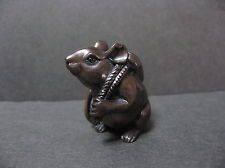 Japanese Netsuke Mouse has coins; black Carved & Signed by Gyokuseki Edo era