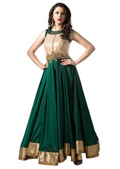 Dark green anarkali suit enhanced in mirror and zardosi embroidery only on Kalki