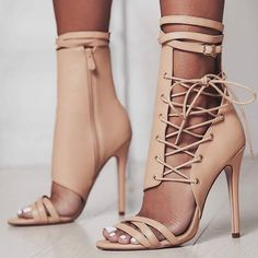 Open Toe Lace Up High Heels