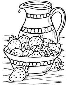 jarra com morangos para pintura em tecido