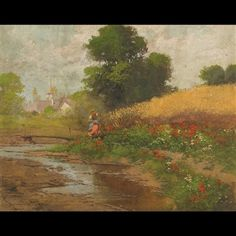 Walking By, Flocking, Oil On Canvas, River, Woman, Artwork, Painting, Work Of Art, Auguste Rodin Artwork