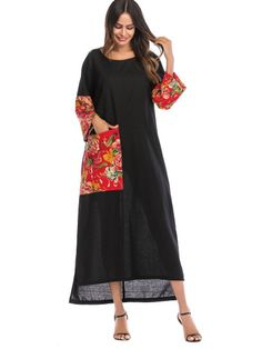 To find out about the Floral Print Contrast Pocket Dress at SHEIN, part of our latest Arabian Clothing ready to shop online today! Abaya Fashion, Fashion Dresses, Plus Size Blouses, Female Models, Types Of Sleeves, Fashion News, Woman Fashion, Cotton Dresses, Dress Patterns