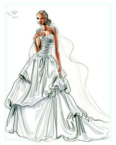 Princess Tiana ball gown, from the Disney's Fairy Tale Weddings by Alfred Angelo - Style 204 sketch #wedding #dress