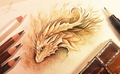 'Forest Spirit Dragon' Master of plants from the enchanted forest(: Watercolors+pencils. Waterbrush is a great thing for a lazy artist like me Art © me  FACEBOOK ETSY SHOP TWITTER...