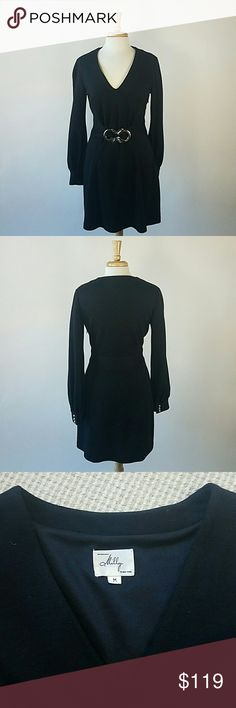 Milly black wool long sleeve dress silver buckle M Milly black wool long sleeve dress with silver buckle at waist. Worn only to try on! Excellent like new condition. Milly Dresses Long Sleeve
