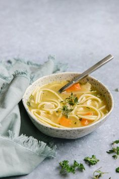 Make ahead and freeze this easy chicken noodle soup recipe for a quick and homemade meal on hand. Rich stock, chicken, vegetables, and noodles make this freezer meal recipe such a comfort food! via happymoneysaver #freezermeal #easydinner #chickennoodlesoup #chickensoup #forthe soul #chicken #hearty #dairyfree