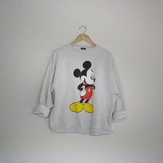 80s Vintage Mickey Mouse Sweatshirt /  Oversized Grey Hipster Sweatshirt