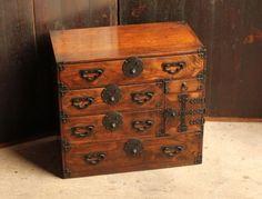 Japanese-antiques-Samurai-Geisha-Kimono-Tansu-Wood-Chest-Cabinet-Furniture-K341