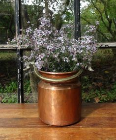 Vintage Copper Bucket / French Inspired Decor by ThistleBleu, $25.00 to hold the baby breath (even better!)