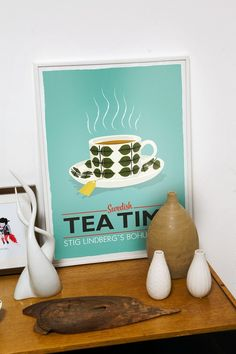 Tea print, kitchen art, Stig Lindberg Bersa , Scandinavian design, retro kitchen art, tea poster Swedish tea time A3  turquoise  wall decor
