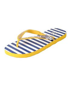 9d3499521958d Yellow Stripe Sequin Flip-Flop - Women  zulily  zulilyfinds Nautical  Stripes