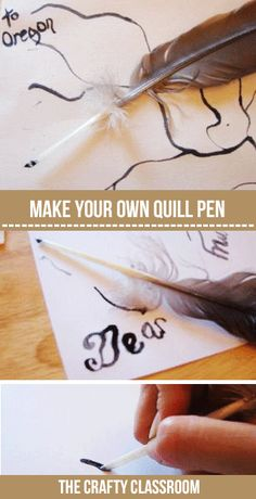 Quill Pen Craft for Kids - The Crafty Classroom Pioneer Day Activities, Activities For Kids, Crafts For Kids, Craft Font, Pioneer Crafts, Reformation Day, Quill And Ink, Yarn Dolls, History Activities