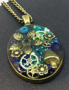 Timeless blue oval steampunk pendant steampunk jewellery