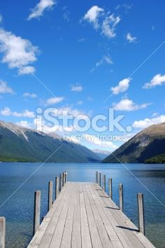Looking down the Jetty into Lake Rotoiti, Nelson Lakes National Park,. Image Now, Nature Photos, Lakes, National Parks, Royalty Free Stock Photos, Beach, Photography, Outdoor, Outdoors