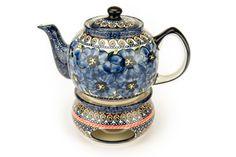 Blue Rose Polish Pottery: Blue Art Teapot with Warmer