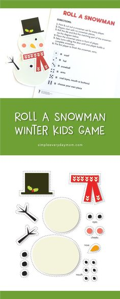 This is the perfect winter game for those days when it's just too cold to go outside! Kids love playing this and being the first one to build the whole snowman #gamesforkids
