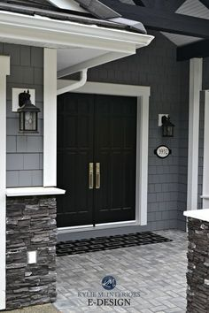 Exterior-dark-gray-similar-to-Benjamin-Moore-Dior-Gray-gray-stacked-ledgestone.-white-trim-black-double-front-door.-Kylie-M-Interiors-E-design-and-online-color-consulting.jpg 2,212×3,318 pixels