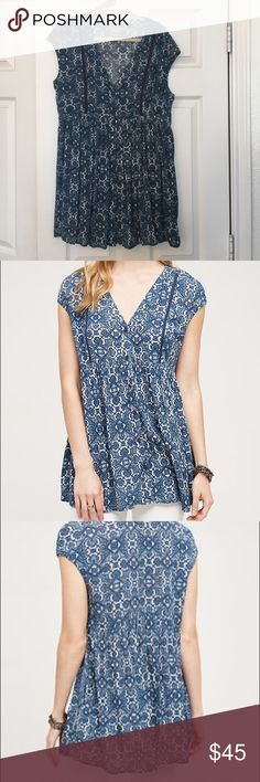Anthropologie Ladder Lace Tunic Beautiful blue tunic. Worn only once!! Perfect condition ✅ Anthropologie Tops
