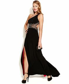 Betsy & Adam One-Shoulder Embellished Illusion Gown I love having a different color from the inside #dress #black