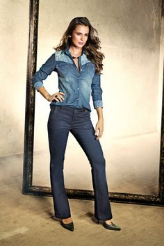 Camisa Jeans com detalhe de renda, Ref. 60164 Calça Jeans High Confort, Ref. 56530
