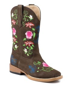 Look at this Roper Brown Square Toe Floral Embroidery Suede Cowboy Boot on #zulily today!
