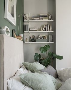A simple, soothing, botanical green bedroom makeover - the reveal! Sage Bedroom, Box Bedroom, Room Ideas Bedroom, Small Room Bedroom, Small Rooms, Simple Bedroom Small, Couple Bedroom, Bedroom Inspo, Master Bedroom
