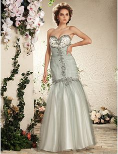 Trumpet/ Mermaid Sweetheart Floor-length Tulle Satin Wedding Dress - USD $ 349.99