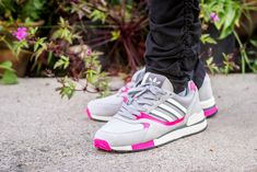 competitive price 650f0 e4ab9 Adidas Quesence Grey Two  Shock Pink On Feet Sneaker Review