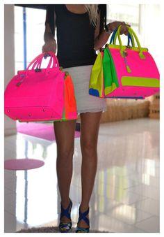 Neon colorblock purses / handbags www.sama-feldbach.com