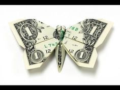Origami tutorial on how to fold a shamrock out of Dollar Bills. An origami four leaf clover is a great money gift idea. To make this money origami cloverleaf. Folding Money, Origami Folding, Origami Easy, Origami Paper, Easy Dollar Bill Origami, Paper Folding, Oragami Money, Money Lei, Origami Design