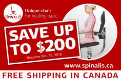 SAVE up to $200 on all SpinaliS Canada chairs! FREE Shipping anywhere in Canada! LIMITED SUPPLY!  SpinaliS Canada ph: 1 778 989 0637 http://www.spinalis.ca Unique Chair for Healthy Back - FREE SHIPPING in Canada  #spinaliscanada #spinalis #fitness #posture #back #fit #workout #beachbody #sale #onsale #cheap #gamingchair #computerchair #officechair #pcchair #gamerchair #gaming #cod #gamer #gamerguy #games #gaming #ps3 #ps4 #psn #xbox #dsr #chairs #chairforgamer #gamingchairs