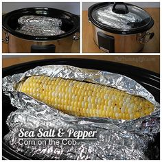 corn on the cob in the crockpot- various ways to season. (our favorite is the basic sea salt & pepper. the other versions we tried just didn't seem flavorful enough, but maybe I didn't add enough seasoning.)