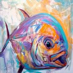 Contemporary Expressionist Fine Art Permit Fish Painting