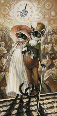 Чтоб мы так жили! - Надежда Соколова: коты и кошки - они, как люди... (батик)