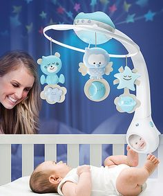 This multifunctional mobile plays soothing melodies, lights-up and projects colorful images on the ceiling, making it an entertainment source than can grow with your developing youngster.