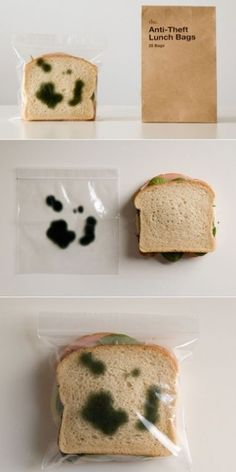 anti theft lunch bag.  That is pretty funny, seriously just take a thin piece of clear plastic wrap, color on it with black and green sharpie.  Problem solved :)