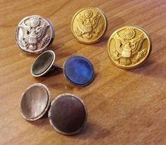 Military Buttons, Brass Buttons & Silver Toned Army & SWANK Plated Cufflinks set