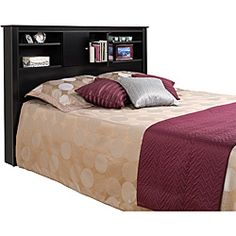 Nicola Black Full/ Queen Size Storage Headboard (Full/Queen), Prepac